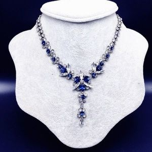 Blue Sapphire Clear CZ Crystal Choker Necklace New